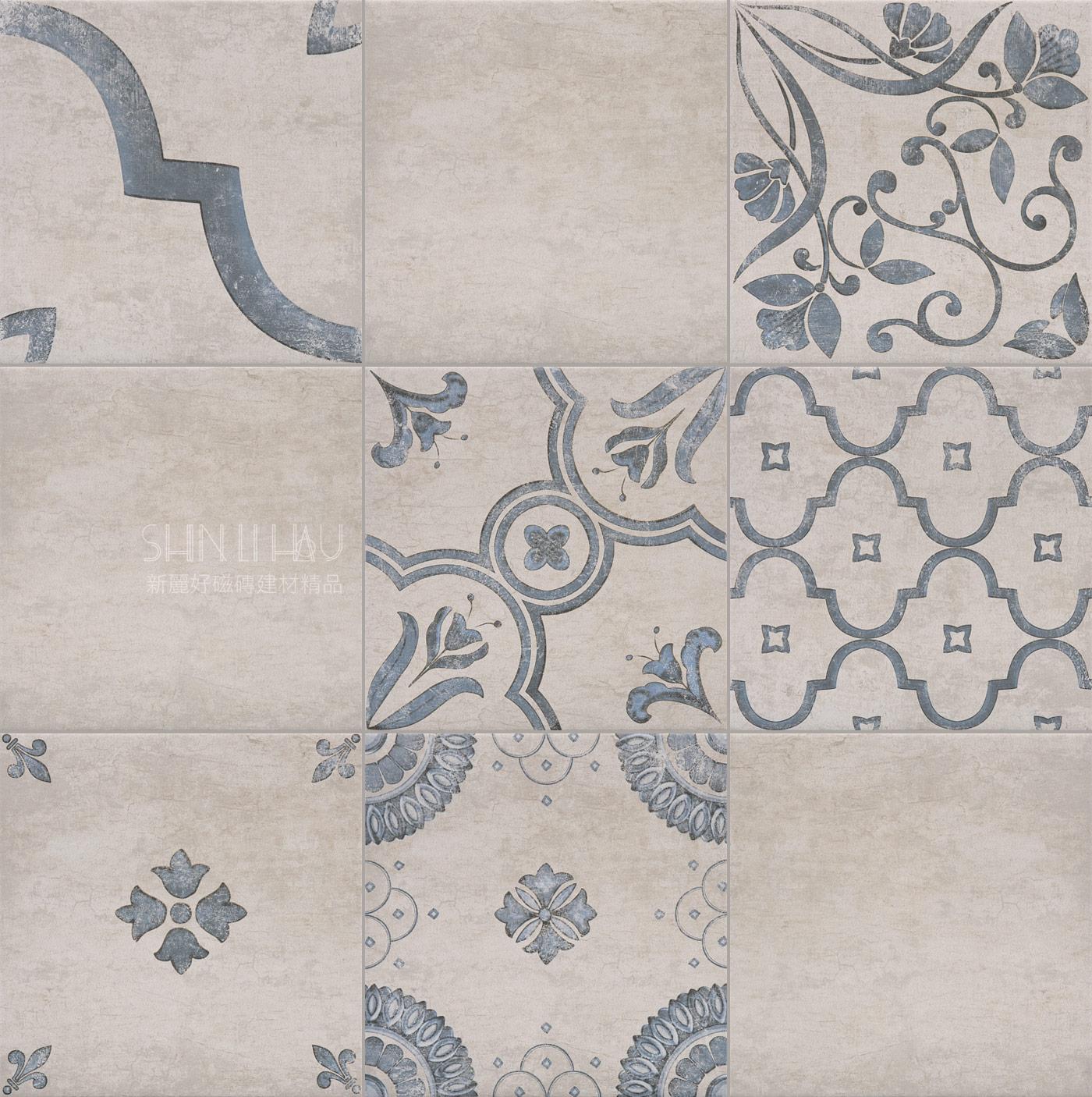 波爾多時代-經典圖騰復古磚 - 尼斯藍花磚